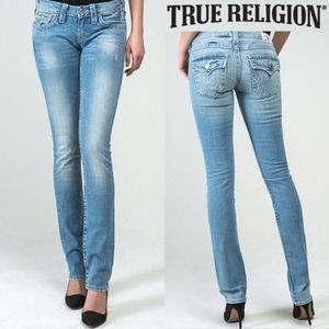 True Religion Light Wash Straight Flap Pocket Jean